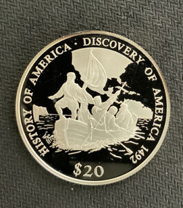Liberia 2000 $20-Discovery of America-Columbus / .66 Oz Silver Prf & *No Reserve