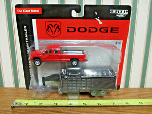 Red Dodge Ram Pickup With Gooseneck Grain Trailer By Ertl 1/64th Scale