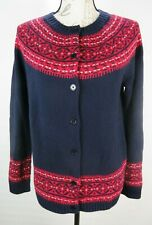 Talbots Womens Size M Navy & Red Lambswool Button Front Cardigan Sweater
