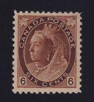 Canada Sc #80 (1898) 6c brown Queen Victoria Numeral Mint VF H