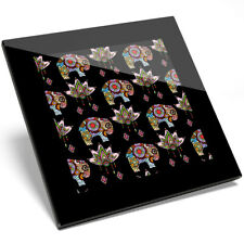 1 x Colorful Elephant Lotus Flores Glass Coaster - Kitchen Student Gift #14789