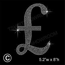 Pound Sterling Symbol Rhinestone Hotfix Transfer Iron on Motif + Free Gift