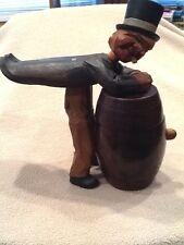 Anri Wood Carved Cigarette or Match holder Tipped over a Barrel or Keg - Vintage