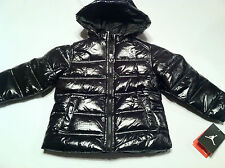 new Girls MJ JORDAN winter snow puffer coat hooded size sz 2 2T Black Silver