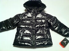 new Girls MJ JORDAN winter snow puffer coat hooded size sz 4 4T Black Silver