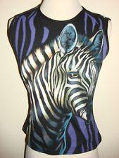 Rojas LA Zoo T shirt Black Purple white Zebra Print Crystal Eye Size S