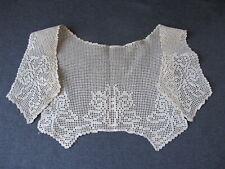 Vintage needle lace flowers leaves collar   10442b