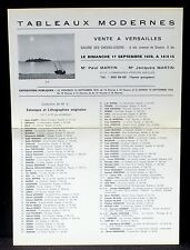 Catalogue vente Versailles Martin 17 septembre 1978 Tableaux modernes TBE