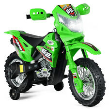 Kids Ride On Motorcycle 6V Battery Powered w/Training Wheel Christmas Gift Green