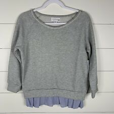 NWT Velvet By Graham & Spencer Womens Gray/Blue Size XS Boat Neck Sweatshirt Top