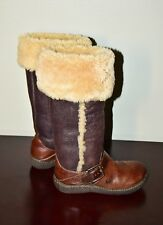 WOMEN'S BORN TALL BROWN LEATHER AND SHEARLING FUR WINTER BOOT SZ 7.5