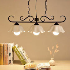 Country Style White Ceramic Floral Shade 3 Lamp Black Metal Kitchen Pendant Lamp