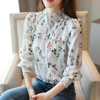 Spring Womens Floral Chiffon Top Long Sleeve Mock Neck Casual Loose Shirt Blouse