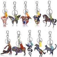 Fashion Women Print Pattern Dog Elephant Horse Keychain Tassel Charms Key Chain