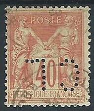 1877-80 FRANCIA USATO SAGE 40 CENT II TIPO PERFIN - EDF005