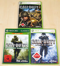 3 XBOX 360 SPIELE SAMMLUNG CALL OF DUTY 3 4 WORLD AT WAR MODERN WARFARE SHOOTER