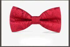 Premium Formal Wedding Party Red Paisley Men Bow Tie Bowtie