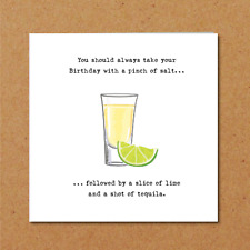 Funny TEQUILA Birthday Card Humorous Drinking Adult Drunk Party Vodka 21st B24