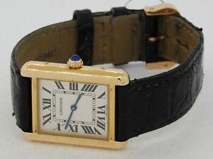 Cartier Tank 3163 18K gold quartz ladies watch w/ silver dial & box/papers