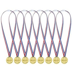 36 Pack Gold Plastic Winner Medals Golden Awards for Kids Party, Competition,...