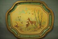 vintage Baret Ware metal serving tray made in England Game Deer ducks pheasant
