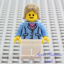 NEW Lego Medium Blue Suit FEMALE MINIFIG w/Cafe Corner Pink Shirt Torso 10182