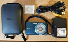 Sony Cyber-shot W350 14.1MP Digital Camera - Blue TESTED 2 batteries Case Cable