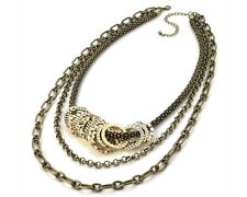 Antique Gold Tone Disc Chain Necklace (3 Row)