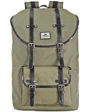 $155 Steve Madden Mens Green Utility Briefcase Backpack Work Bag School Bookbag