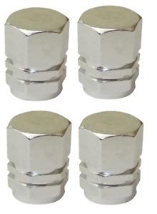 Silver Hexagonal High Quality Metal Metallic Dust Caps Pack of 4 Caps