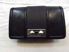 VICTORIA'S SECRET EVENING Handbag Purse Clutch Small Black Vinyl FAUX LEATHER
