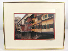 Houses on Ponte Vecchio Florence, Italy Framed & Signed Photographic Print Canal