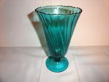 BEAUTIFUL 1930's JEANETTE GLASS ULTRA MARINE PETAL SWIRL VASE