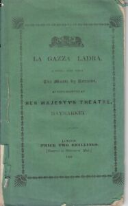 Opera Programme 1838 London La Gazza Ladra Giulia Grisi Lablache Haymarket