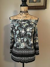 Cato Off Shoulder Top Sz Xs Floral Bell Sleeves Feminine Pretty Flowy Stretchy