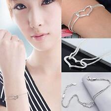 GIRLS 925 SILVER Heart Bracelet Bangle Heart Pendant Xmas Gift Jewelry HOT