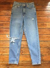 Topshop Moto  Mom Jeans  Blue  Ripped Size 8 W26 To Fit L30  Defect   Zk30