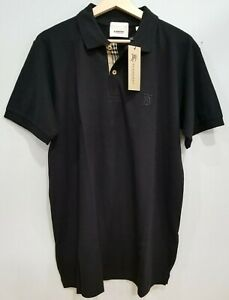 Burberry London Men's Polo Shirt Dark Night Black Size Large Made In Portugal