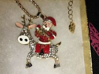 Betsey Johnson Necklace Santa Reindeer Red Gold Crystals Christmas