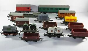 Bundle of 15 x Vintage TRI-ANG  Carriages Trucks & Rolling Stock OO Gauge Wagons