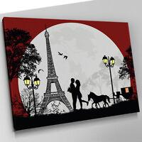 L043 Love Romance Paris Eiffel Tower Canvas Wall Art Picture Large Print