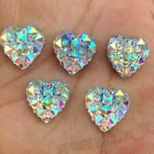 Charms Heart Clear Silvery Rhinestones Flatback Embellishment Craft DIY 12mm