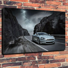 "Silver British Luxury Car Printed Box Canvas Picture A1.30""x20""30mm Deep ManCave"