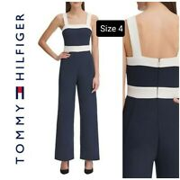 NWT Tommy Hilfiger Women's Square Neck Sleeveless Jumpsuit Navy Blue/White Size