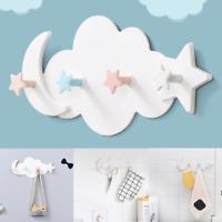 3/4Hooks Cloud Moon Wall Hanging Hook DIY Hanger Children's Room Wall Decoration