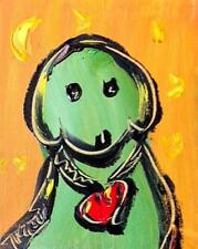 Green Dog - Original Painting on Stretched Canvas  by Mark Kazav - FiRTH