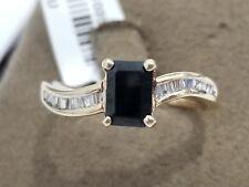 Size 9 Yellow Gold Black Sapphire Diamond Wedding Engagement Ring Baggutte