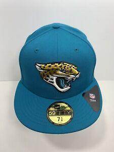 "New Era NFL 59FIFTY Teal Jacksonville Jaguars 7 5/8"" Fitted Flat Bill Cap, NEW!"