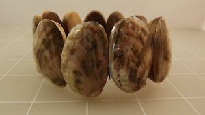 Handmade Wooden ABALONE Shell Stretch Bracelet