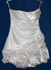 Anjeeli Strapless Dress Ruched Bubble Prom Cocktail Formal  White  L